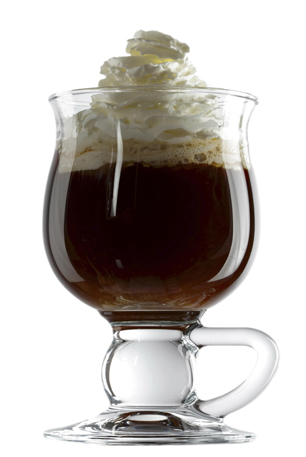 Irish coffee is a cocktail consisting of hot coffee, Irish whiskey, and sugar, stirred, and topped with thick cream. Isolated over white